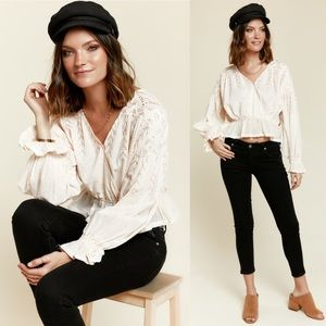 [Free People] NWT Counting Stars Cream Long Sleeve